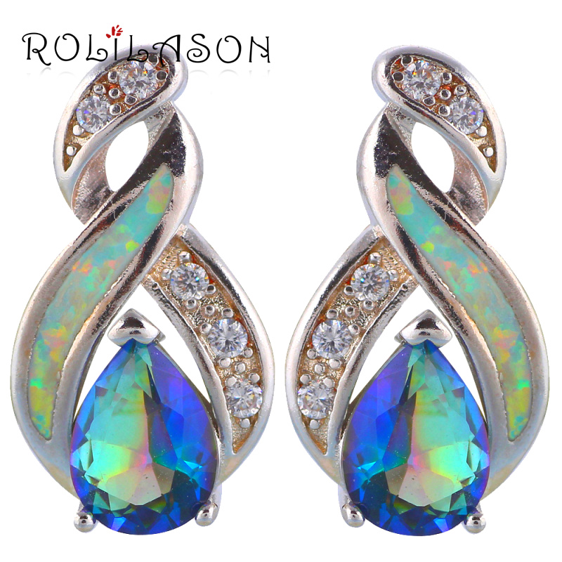 1 Paire Femme Fashion 925 Bijoux En Argent Opale de feu Charme Boucle d/'oreille Pendentif Nouveau