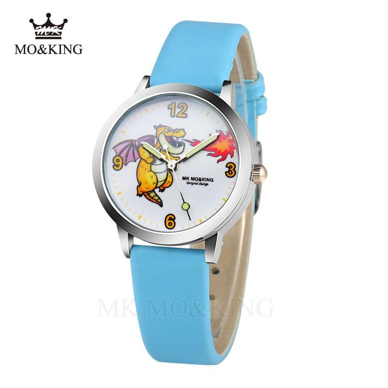 Mk Mo King Fashion Children Watch For Boy Leather Strap Wristwatch Student Casual Quartz Watch For   Boy Kid Lovely Cartoon 2019