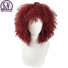 MSIWIGS Red Curly Synthetic Wigs for Black Women American African Medium Afro Wig Cosplay Heat Resistant