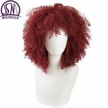 MSIWIGS Rot Lockige Synthetische Perücken für Schwarze Frauen Amerikanischen Afrikanischen Medium Afro Perücke Cosplay Hitze Beständig