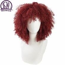 MSIWIGS czerwone peruki syntetyczne z kręconymi włosami dla czarnych kobiet American African Medium peruka afro Cosplay żaroodporne
