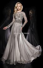 Elegante Abendgesellschaft 2016 Perlen Scoop Ausschnitt Mit Langen Ärmeln Brautkleider Chiffon Kleid vestidos de fiesta Für Frauen