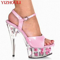 The rose 15 CM High Heeled Sandals Nightclub Dance Shoes Pole Dancing Shoes Model High Heels Women's Shoes