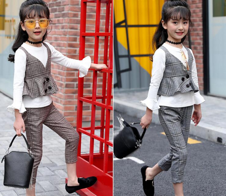 GirlsPlaid 3PCS Suits Children Flare Sleeve T-shirt+V neck Vest +Pant Three Pieces Sets Kids Baby Casual Sets Clothes kids spring formal clothes set children boys three piece suit cool pant vest coat performance wear western style