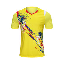 Tennis T-shirts, mannen Badminton T-shirt, Polyester Tafeltennis T-Shirts, Ping Pong T-shirts, shuttle uniform Geel S-4XL(China)