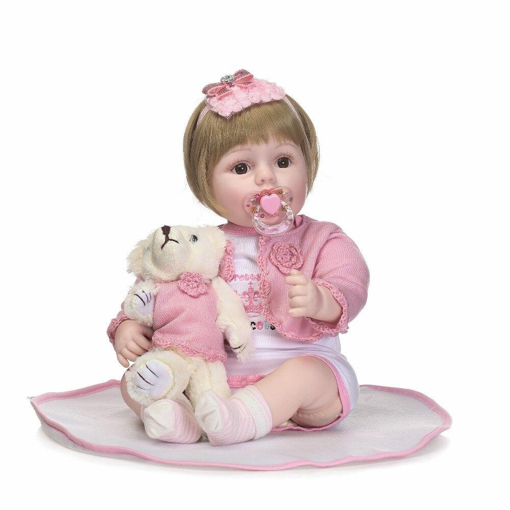Npkcollection55cm cotton body lifelike princess baby girl with pink headband best Children