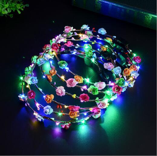 Piscando LED Brilho Headbands Flor Da Coroa Festa Rave Luz Floral Cabelo Headpiece Casamento Da Menina de Flor Guirlanda Guirlanda Decoração 100 pcs