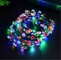 Blinkende LED Glow Blume Krone Stirnbänder Licht Party Rave Floral Haar Girlande Kranz Hochzeit Blumenmädchen Kopfschmuck Decor 100 stücke