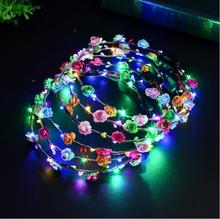 Flashing LED Glow Flower Crown Headbands Light Party Rave Floral Hair Garland Wreath Wedding Girl Headpiece Decor  100pcs