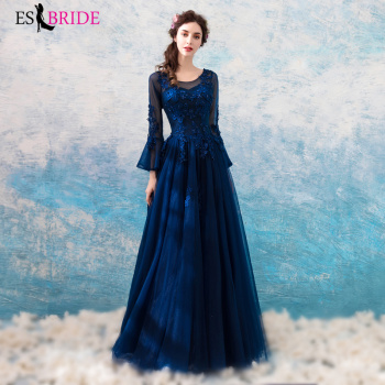 Evening Dresses Royal blue prom dresses 2019 Simple Evening Gown O-neck Wedding Guest Gown Backless Elegant Evening dress ES2205
