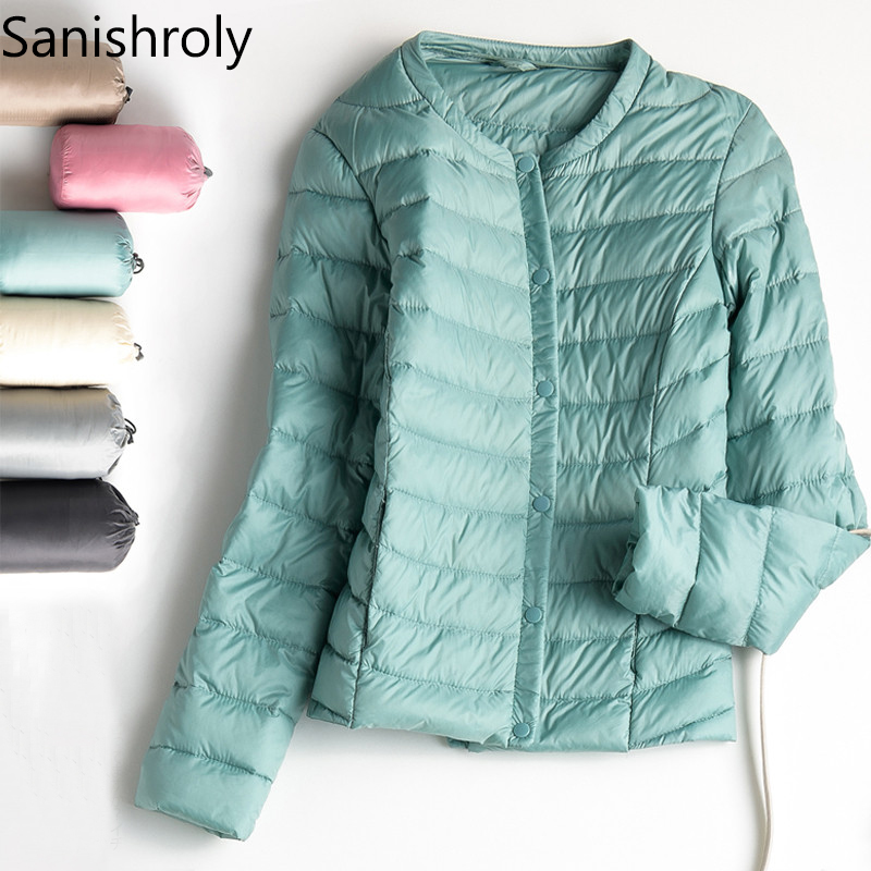 Sanishroly 2018 Autumn Women Short Outerwear Female Thin White Duck   Down   Jacket Ultra Light   Down     Coat   Parka Tops Plus Size SE262
