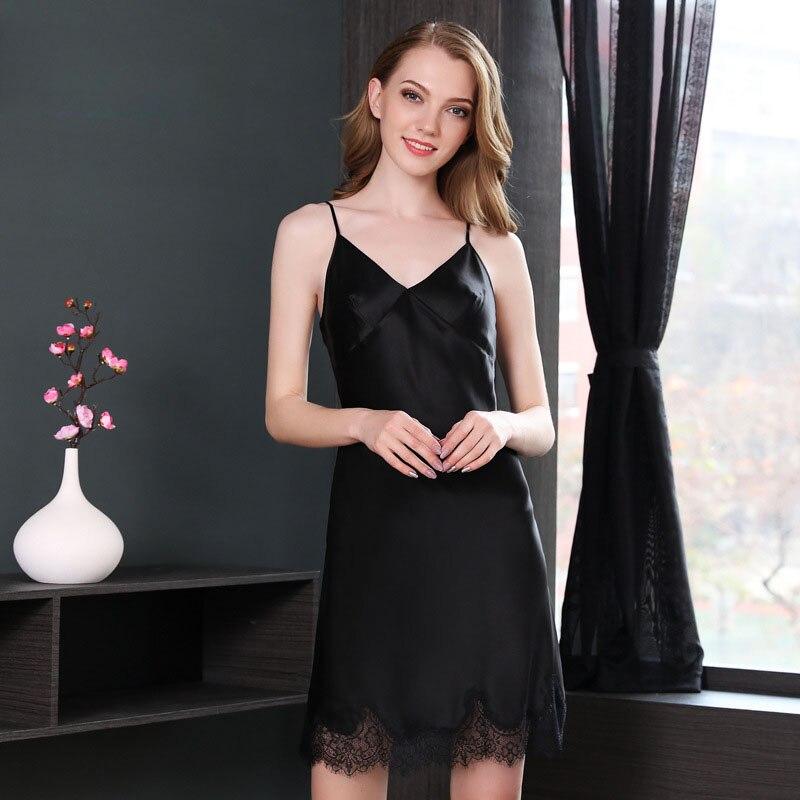 Sexy dentelle vraie soie robe de nuit femmes sans manches d'été robe de nuit élégance vêtements de nuit femmes 100% soie sans bretelles chemise de nuit