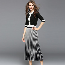Elastic knit single breasted shirt and mid calf pleated skirts 2 piece suits 2017 new brand