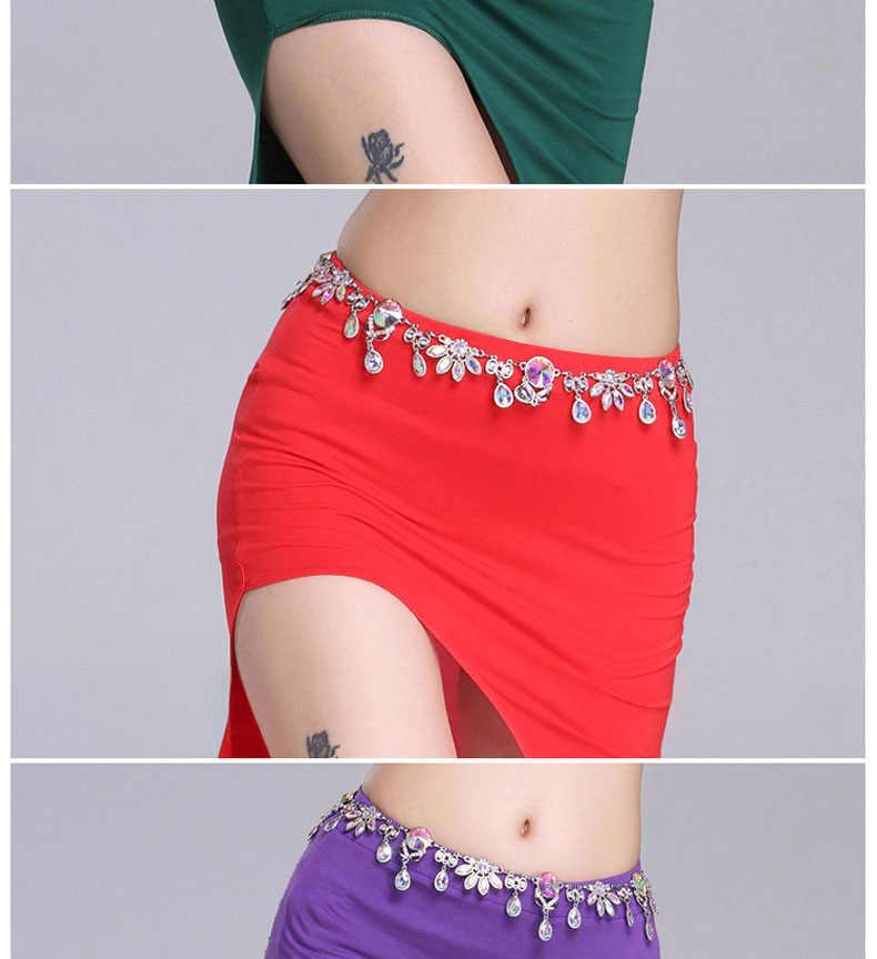 גברת ריקודי בטן יהלומי מותניים שרשרות בנות ריקודי בטן תלבושות הודי שמלת לטיני Waistbelt נשי ריקוד חגורת Danse D-0076