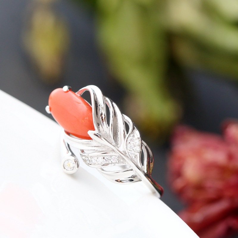 Vintage Thai Silver Wholesale Handmade Natural Red Coral Female Ring S925 Sterling Silver Ring Open Ended Fashion Silver RingVintage Thai Silver Wholesale Handmade Natural Red Coral Female Ring S925 Sterling Silver Ring Open Ended Fashion Silver Ring