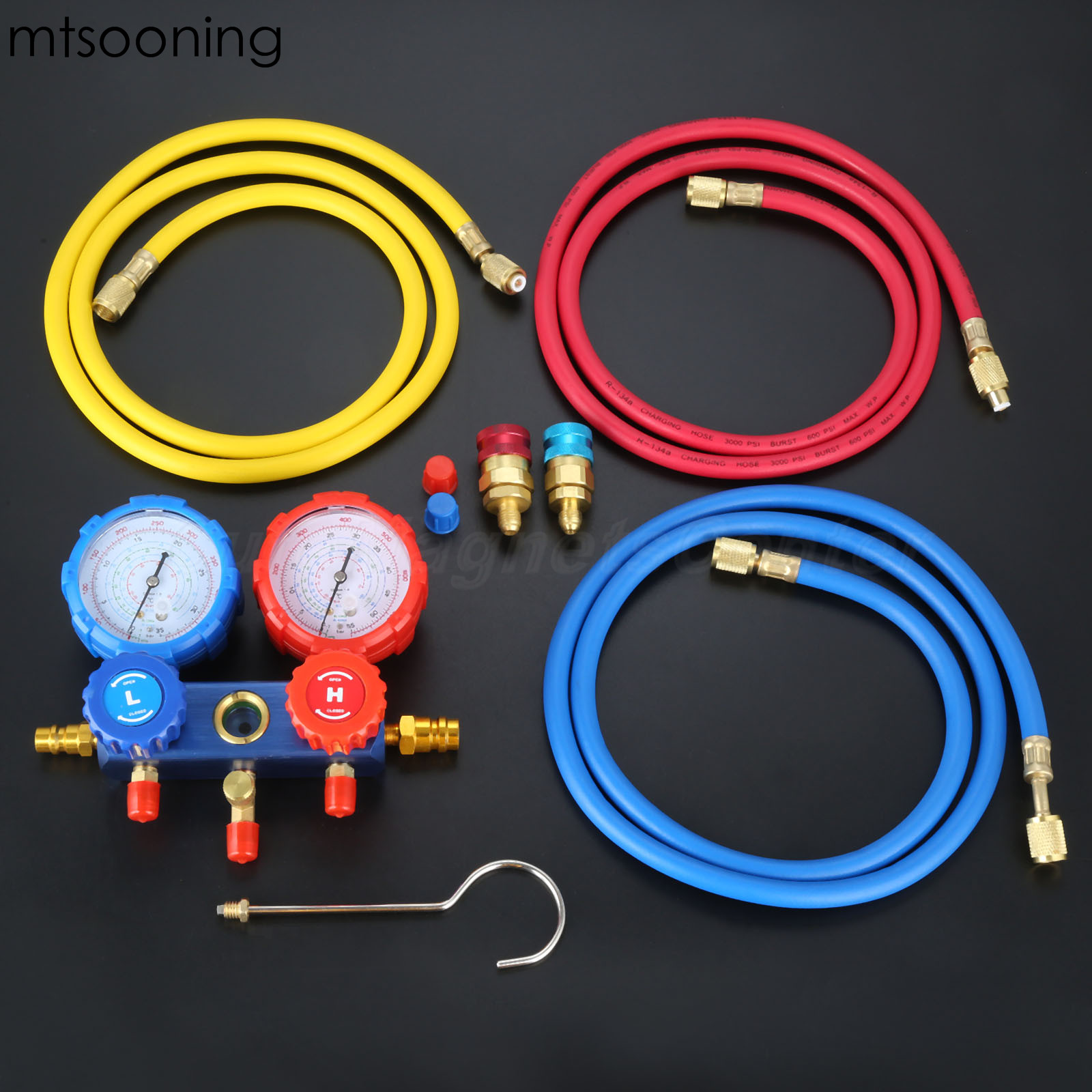 mtsooning R134a R404a HVAC AC Refrigerant Manifold Gauge Set and 3pcs Charging Hose for Automobile A/C Air Conditioning цена
