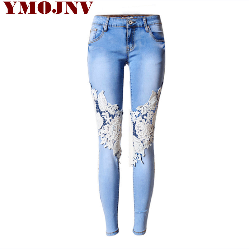 Jeans Woman Plus Size Women Pants 2016 Spring European And American Denim Hot Sexy Openwork Lace Stitching Trousers Slim Feet