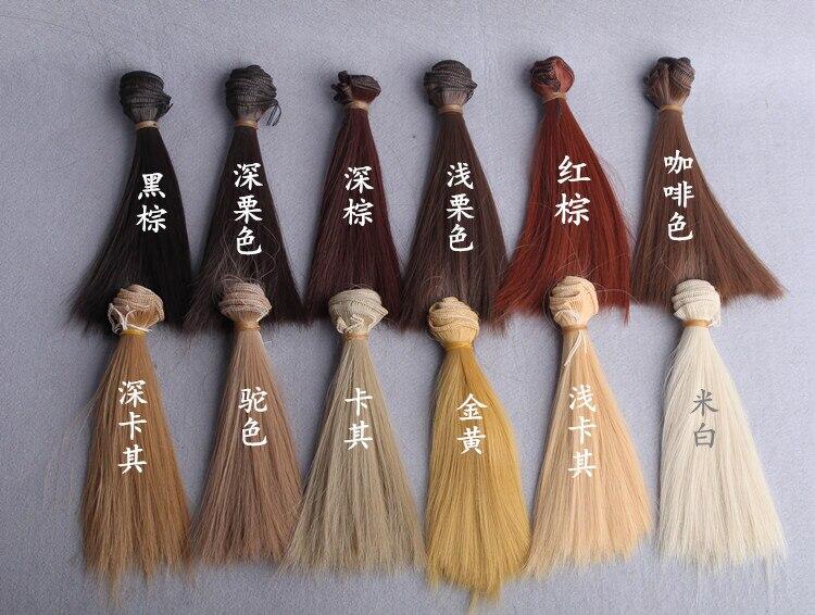 Чёрный; коричневый Цвет 15/25/35 см * 100 см БЖД Dollfie кукла DIY прямо Искусственные парики 1/3 1/4 Куклы химическое Волокно парик волос 10 шт./лот оптовая...