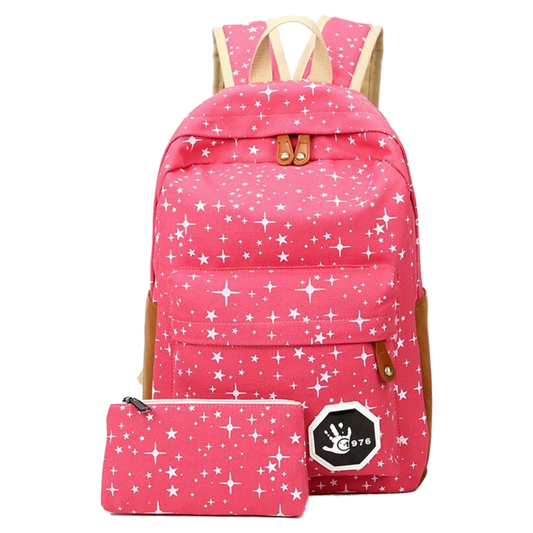 2 Pcs/Set Star Canvas Backpack School Girl Boy Teenagers Travel Bags Rucksack, Red