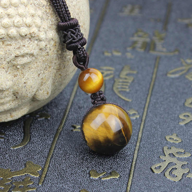 Natural Tiger Eye Bead Pendant Necklace 16 mm Single Bead Necklace Chinese Style Hand Carved Fashion Jewelry