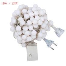 10M 100LED 110V/220V EU/US Plug Christmas Garland Balls Lamp 6M 40LED Battery Operated Fairy String Curtain Lights Wedding Decor