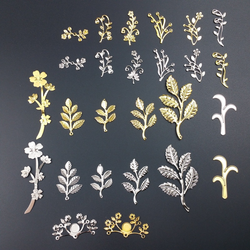 20 Pcs/lot   Metal Filigree Branch Flowers Slice Charms Base Setting Jewelry DIY Components