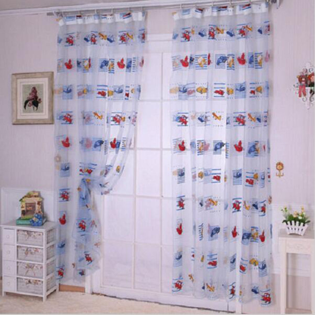 Cute window curtains - Kids Car Pattern Voile Panel Sheer Door Room Drape Window Curtains Factory Directly Sale Cute Lovely