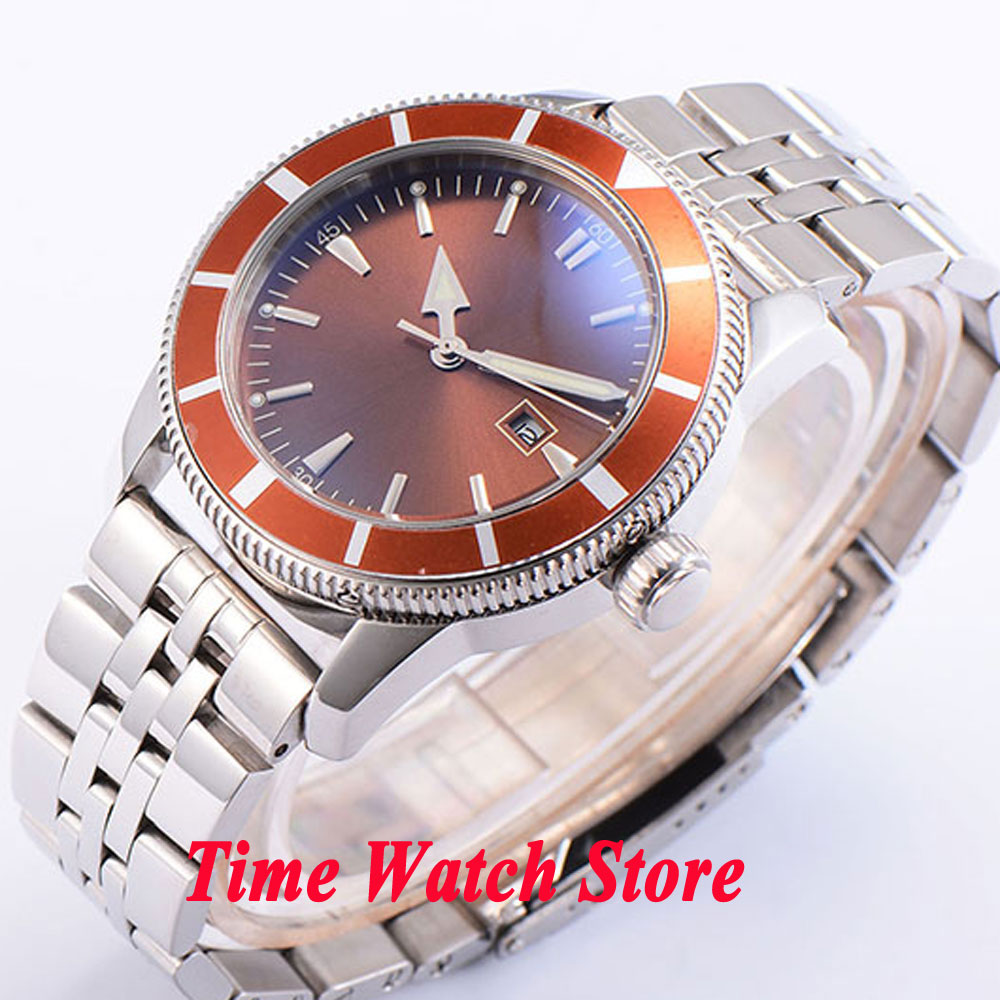 Bliger 46mm brown sterial dial date brown bezel luminous Stainless steel band deployant clasp Automatic men's watch BL89 bliger 46mm white sterial dial date green bezel luminous black pvd case deployant clasp automatic men s watch 504