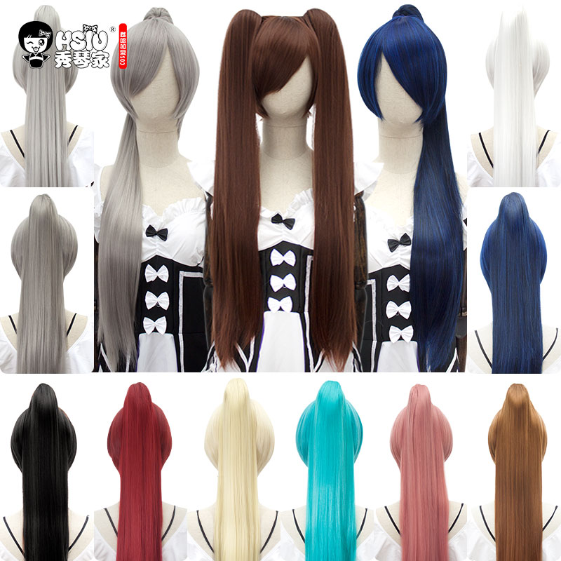 HSIU 80Cm Long Staight Ponytail Clip Cosplay Wig High Temperature Fiber Synthetic Wigs Anime Party Ponytail Party Wigs 14 Color