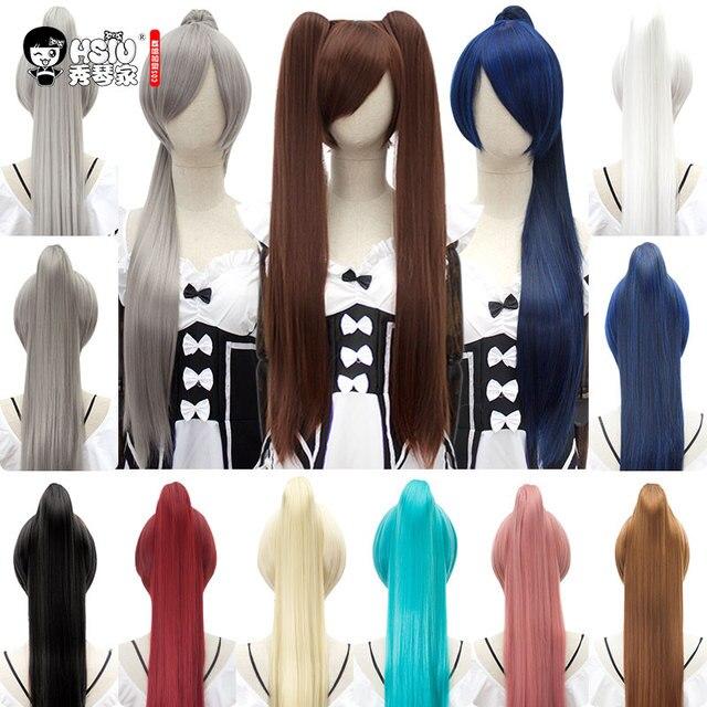 HSIU 80 см Длинные Staight заколка для хвоста косплей парик высокотемпературные синтетические парики аниме вечерние конский хвост Вечерние Парики 14 цветов