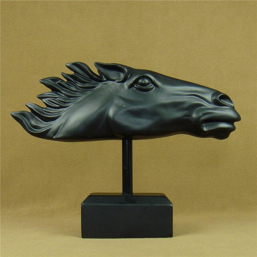 Abstrait tête de cheval Sculpture à la main résine Mustang Statue ornement artisanat accessoires ameublement pour la décoration de la maison et du bureau