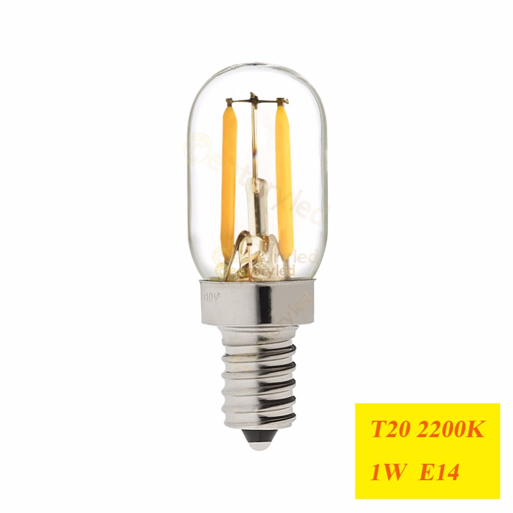 Image 2 - Retro LED Filament Lighting Bulb,1W 2W,2200K,E12 E14 Base,Edison Ampoule T20 Clear Glass  ,110V 220VAC,Dimmableled filament light bulblight bulbled filament -