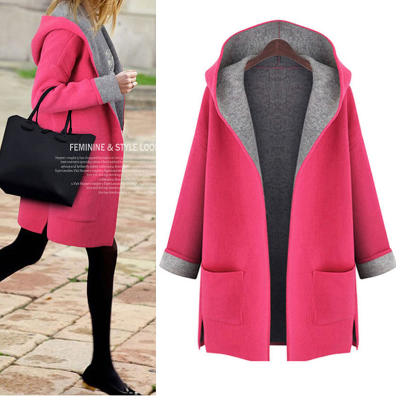 Trench   Coat Para Mulheres Women Winter Fashion Big Pocket Open Stitch Coats No Zip No Button Plus Size   Trench   Coat Winter Female