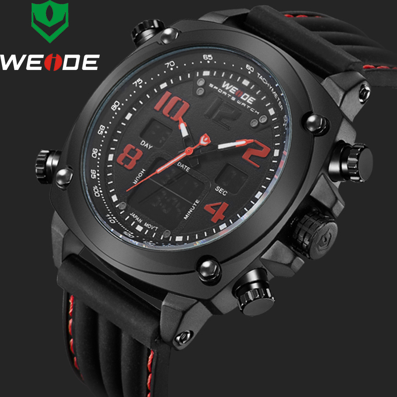 Watches Men 2018 WEIDE Luxury Brand Mens Quartz LED Digital Army Military Quartz-Watch Sport Wrist Watches Relogio Masculino weide fashion casual quartz watch men sport watches famous luxury brand stainless steel military army relogio masculino wh3305
