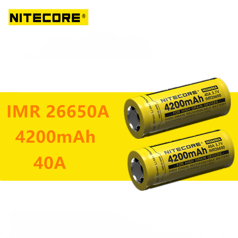 2pcs Nitecore IMR26650A IMR <font><b>26650A</b></font> 4200mAh 40A High Drain Rechargeable Battery Ideal for Vaping Devices image
