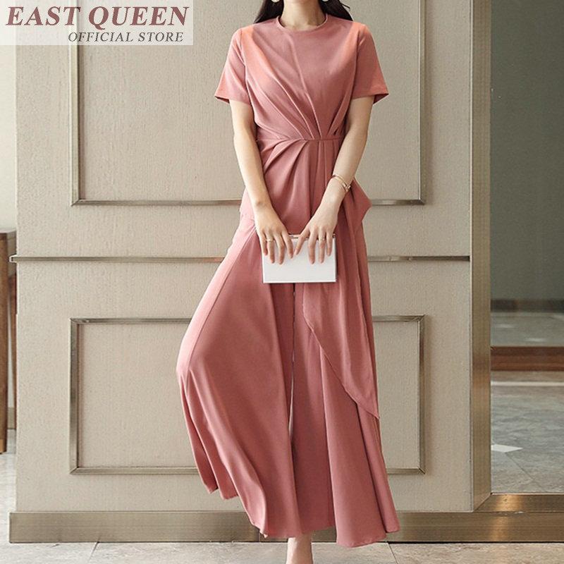 Mode été élégant dames vestidos 2 ensemble vêtements manches courtes o-cou solide couleur plissée tunique chic jambe large tissu DD788 a