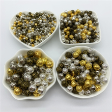 4/6/8/10/12/14/16mm Hollow Metal Spacer Beads Round Loose Beads Jewelry Findings DIY Beads For Jewelry Making Bracelet Necklace