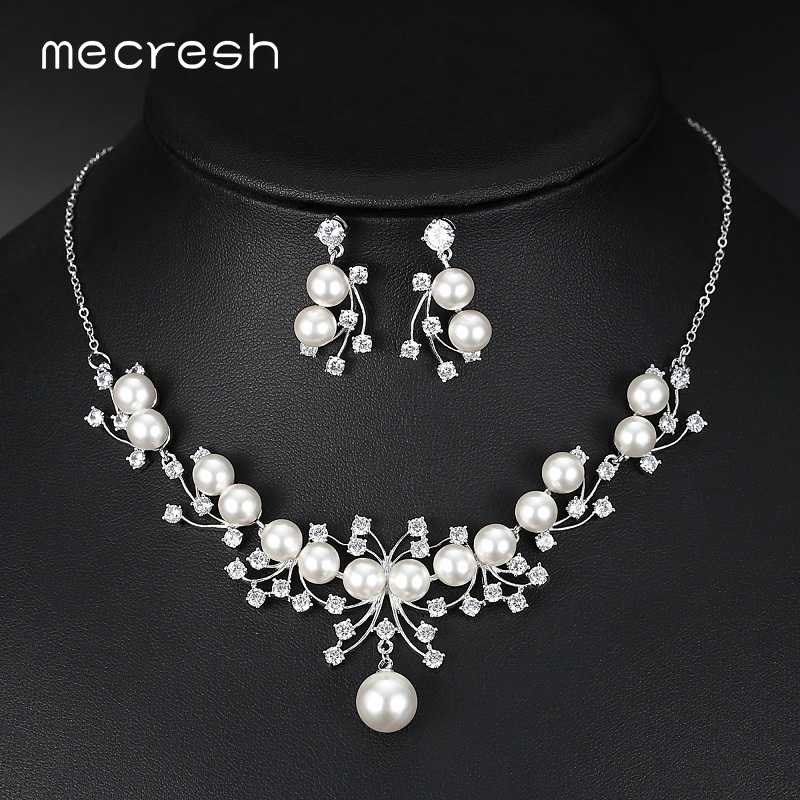 Mecresh Elegant Simulated Pearl Bridal Jewelry Sets Silver Color