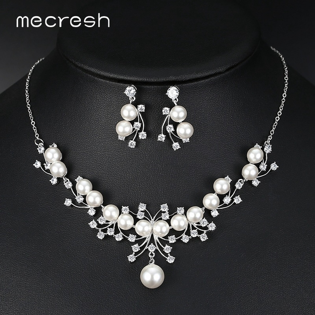 Mecresh Elegant Simulated Pearl Bridal Jewelry Sets Silver Color Simple CZ Necklace Sets Wedding Bridesmaid Jewelry MTL526