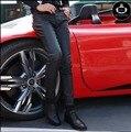 28-34 Nueva versión Coreana de los hombres marea pantalones pantalones apretados Delgados pantalones de cuero negro pantalones de cuero de La Motocicleta cantante disfraces