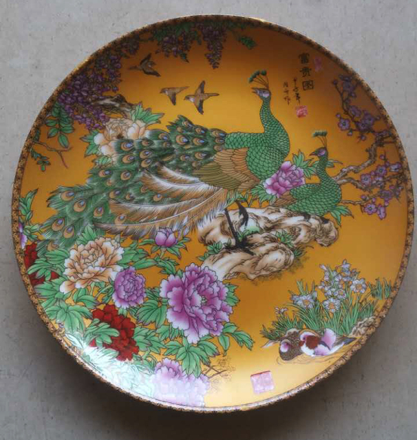 Exquisite Chinese Handmade Ceramic Plate Painted With Beautiful Peacocks and Flowers & Exquisite Chinese Handmade Ceramic Plate Painted With Beautiful ...