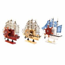 3 Colors Wooden Ship Music Boxes Ornament Wooden Sailing Boat Music Box Furnishing Articles Decoration Birthday Gift