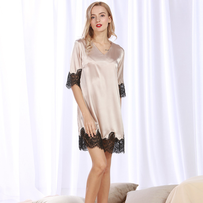 Women Sexy Silk Satin Nightdress Half Sleeve Nightgown Lace Sleepshirt V-neck Sleep Dress Elegant Home Dress Summer Night Gown