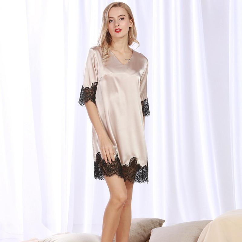 Women Sexy Silk Satin Nightdress Half Sleeve Nightgown Lace Sleepshirt V-neck Sleep Dress Elegant Home Dress Summer Night Gown