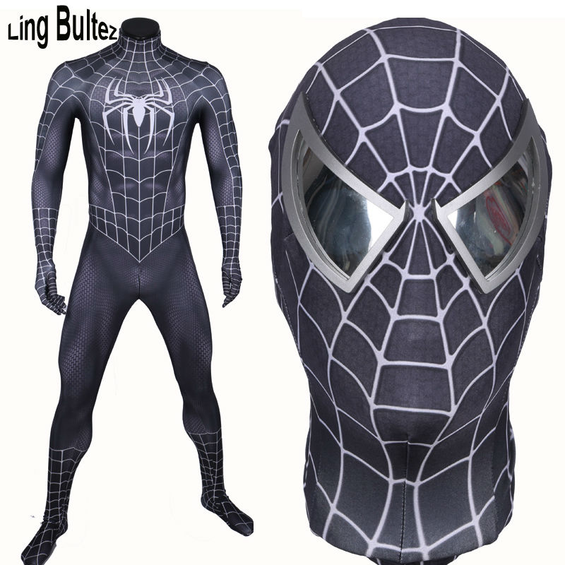 Ling Bultez High Quality New Arrive Muscle Shade Black Spiderman Costume Black Raimi Spider Man Spandex