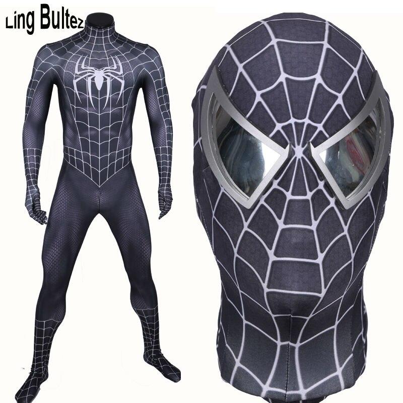 Ling Bultez Haute Qualité Nouveau Arrivent Muscle Ombre Noir Spiderman Costume Noir Raimi Araignée Homme Spandex Costume Noir Hero Costume