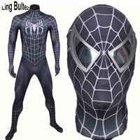 Ling Bultez di Alta Qualità di Nuovo Arriva Muscolare Ombra Nero Spiderman Costume Nero Raimi Spider Man Vestito Spandex Nero hero Vestito