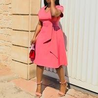 Pink Plus Size 4XL African Party Fall Dress Elegant Summer Tunic High Waist Office Ladies Female Vintage Women Midi Work Dress