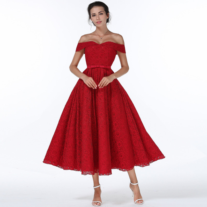 HANZANGL Womens Elegant Sexy Club Off Shoulder Red Lace Dresses Party Evening Special Occasion Dress Vintage Vestidos