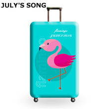 JULYS SONG Flamingo Elastic Luggage Protective Covers for 18-32 Inch Suitcase Thick Dust Pink Cover Travel Bag Case